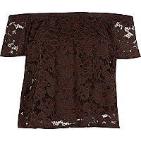 Brown lace gypsy top