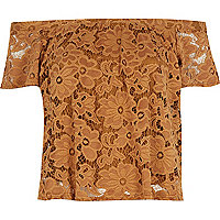 Light brown lace gypsy top