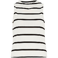 White stripe boat neck top