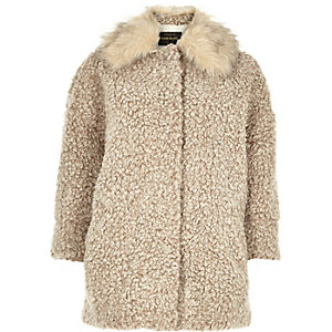 Beige soft teddy-fur coat
