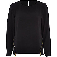 Black long sleeve zip side top