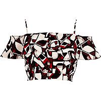 Red printed ruffle bardot crop top