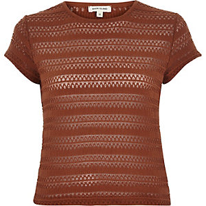 Brown lace fitted t-shirt