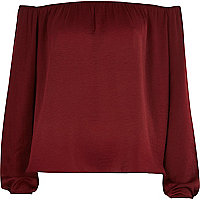 Dark red bardot top