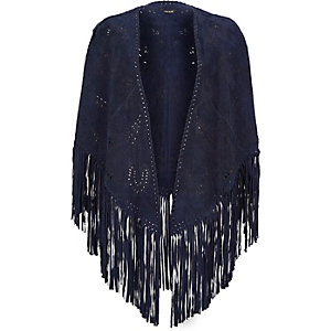 Navy laser cut suede fringed cape