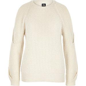 Cream Design Forum cold shoulder jumper