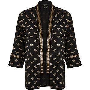 Black bird print embellished kimono
