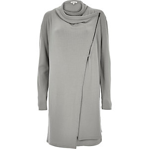 Grey asymmetric zip cowl neck cardigan