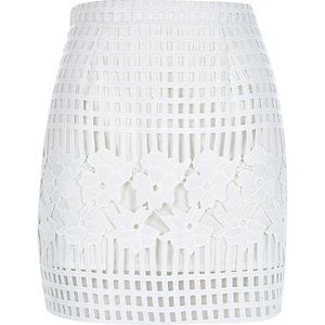 White grid lace A-line skirt
