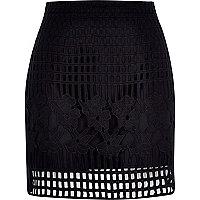 Black grid lace A-line skirt