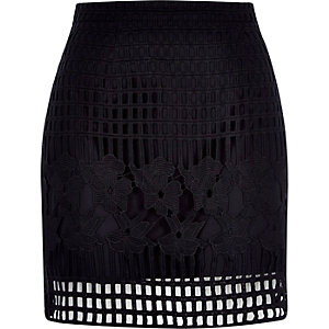 Black grid lace A-line skirt