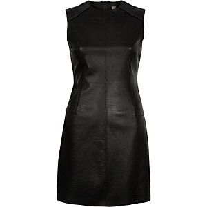 Black Design Forum leather bodycon dress