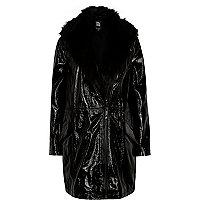 Black Design Forum patent leather jacket