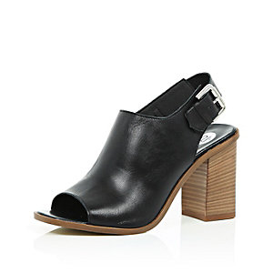 Black leather block heel slingback sandal