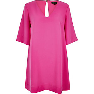 Bright pink V-neck swing dress