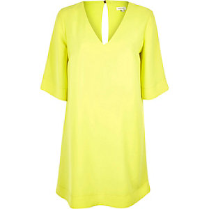 Bright yellow V-neck swing dress