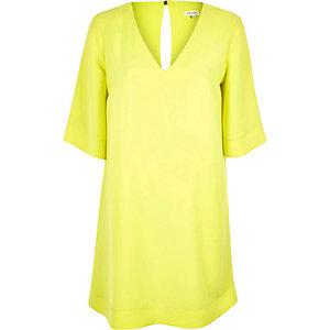Bright yellow V-neck swing dress