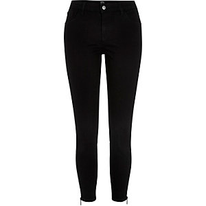 Black Design Forum zip side skinny jeans