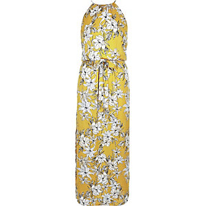 Yellow floral print waisted maxi dress
