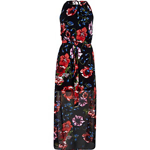 Black floral print waisted maxi dress