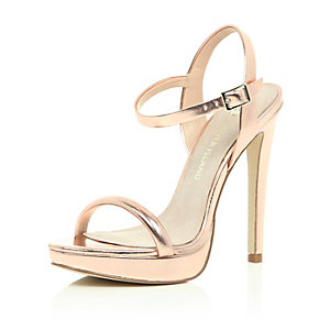 Rose gold metallic heeled sandals