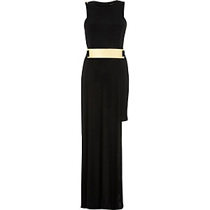 Black asymmetric gold belt dress