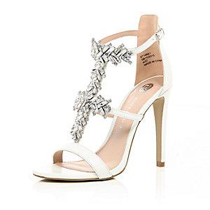 White embellished sandal heels