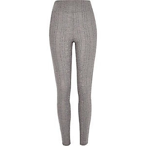 Grey cable knit high waisted leggings
