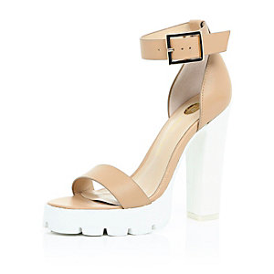 Nude leather cleated sole sandals