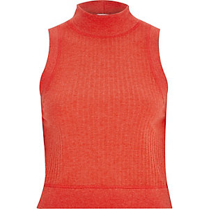 Red turtle neck crop top