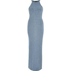 Denim blue ribbed bodycon maxi dress