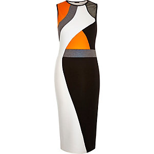 Black colour block bodycon midi dress