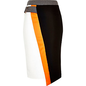 Black colour block D-ring pencil skirt