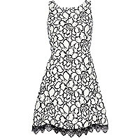 Cream lace print skater dress