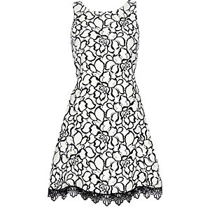 Cream lace print skater dress