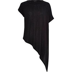 Black asymmetric short sleeve t-shirt