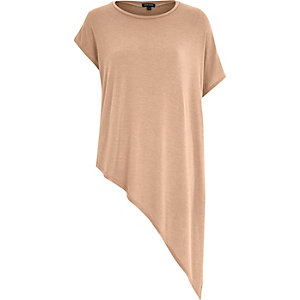 Camel asymmetric short sleeve t-shirt