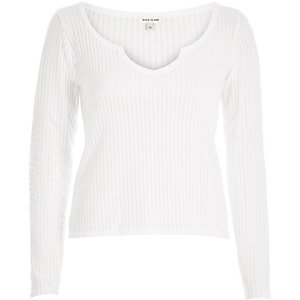 White ribbed notch neck top