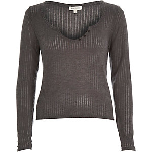 Grey ribbed notch neck top