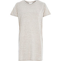 Beige lattice back side split t-shirt