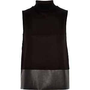 Black turtle neck contrast hem top