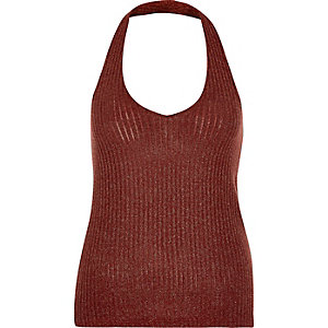 Rust brown metallic marl halter neck top