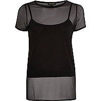 Black mesh later split back t-shirt