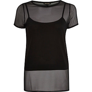 Black mesh later split back t-shirt