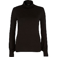Black blouson polo neck top