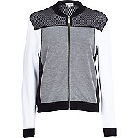 Grey mesh colour block bomber jacket