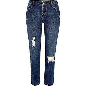 Mid wash distressed Stevie straight jeans