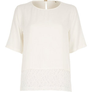 Cream lace trim t-shirt
