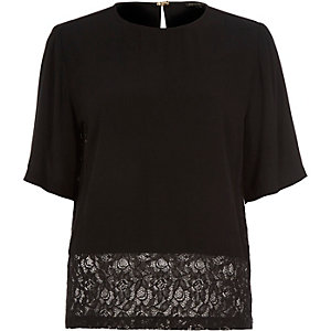 Black lace trim t-shirt