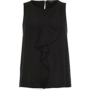 Black ruffle front sleeveless top